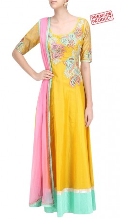 Embroidery Work Yellow Silk Floor Length Anarkali Suit SUMS32621