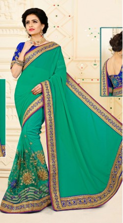 Energetic Digital Net Sea Green Floral Work Saree With Embroidered Blouse VB11134B29