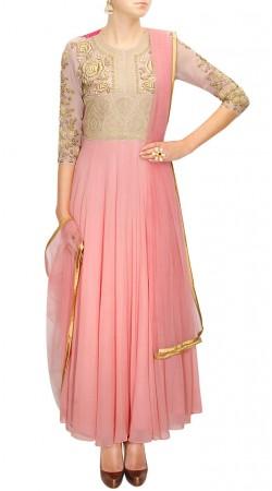 Enrich Crush Pink Designer Anarkali Suit With Floral Work SUMS27217