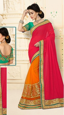 Excellent Digital Net Orange Catatonic Georgette Ruby Saree With Blouse VB11128C29