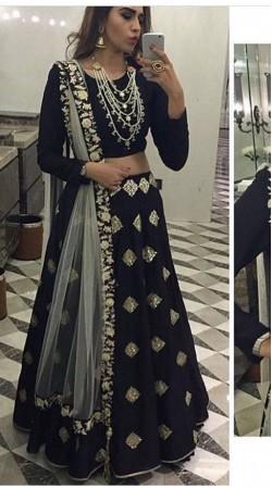 Exceptionally Made Black Designer Lehenga Choli With Dupatta BP2323