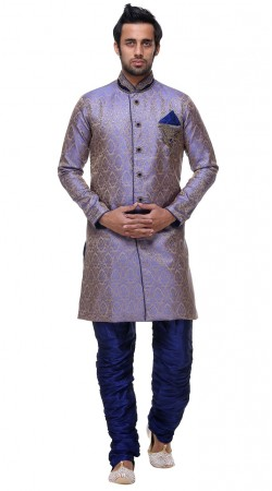 Exceptionally Made Brocade Blue Indo Western Sherwani For Mens GR131604