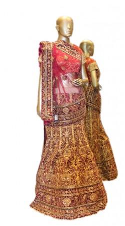 Exceptionally Made Dark Cream Tissue Bridal Lehenga Choli SD0558