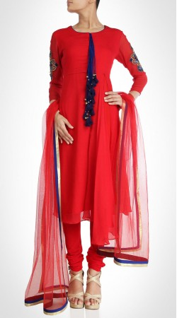 Exceptionally Made Georgette Red Churidar Suit With Dupatta SUMS20017