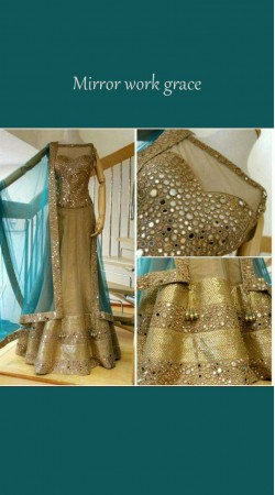 Exceptionally Made Golden Net Stylish Lehenga Choli With Contrast Dupatta BP0924