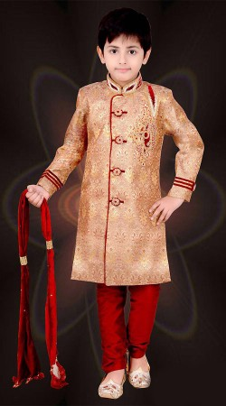 Exceptionally Made Golden Premium Fabric Kids Boy Sherwani DT2866B53