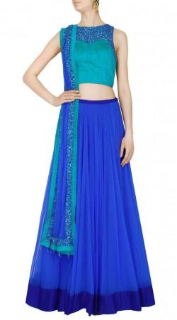 Exceptionally Made Net Blue Designer Crop Top Lehenga SUUDL16318