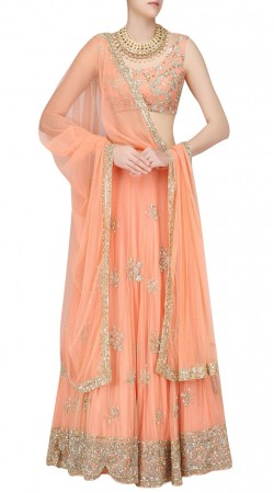 Exceptionally Made Peach Net Designer Lehenga Choli With Dupatta SUUDL21019