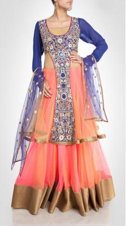 Exceptionally Made Pink And Orange Net Lehenga With Long Choli SUUDL15116