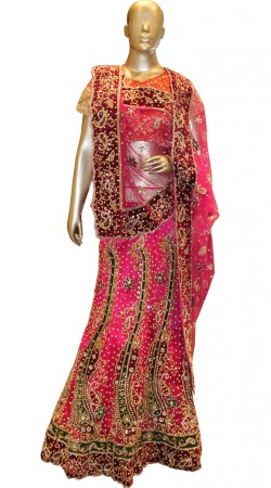 Exceptionally Made Pink Net Bridal Lehenga Choli With Dupatta SD0358