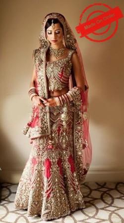 Exceptionally Made Red Net Heavy Work Bridal Lehenga Choli BP2420