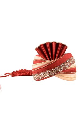 Exceptionally Made Red Silk Groom Wedding Turban ZP1110