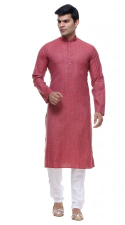 Exceptionally Made Reddish Pink Cotton Mens Kurta Pajama GR141403