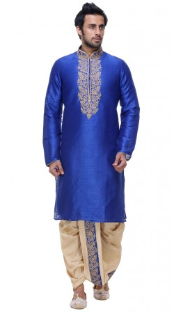 Exceptionally Made Silk Blue Mens Full Sleeves Kyrta With Dhoti Salwar GR140403