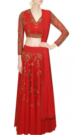 Exceptionally Made Silk Red Designer Lehenga With Full Sleeves Choli SUUDL17918