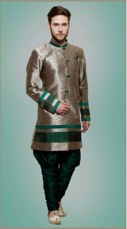 Exceptionally Made Silver Banarasi Silk Indowestern Sherwani DTINDO6660