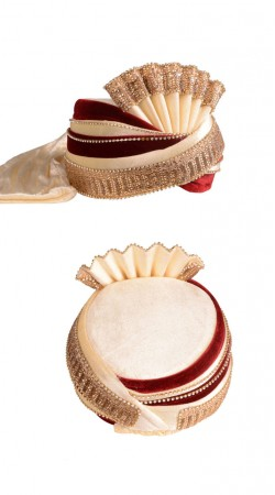 Exceptionally Made Velvet Cream And Maroon Mens Turban For Wedding ZP0911