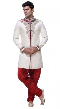 Exceptionally Made White Brocade Mens Sherwani With Jodhpuri Pant GR132605
