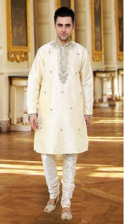 Exceptionally Made White Kela Resham Brocade  Kurta Pajama DTEKP350