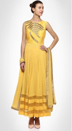 Exceptionally Made Yellow Designer Ankle Length Anarkali Suit SUMS25717
