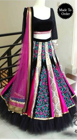 Exclusive Aari Embroidered Black Designer Replica A-Line Lehenga Choli BP00207
