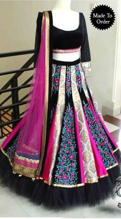 Exclusive Aari Embroidered Black Designer Replica A-Line Lehenga Choli BP00207