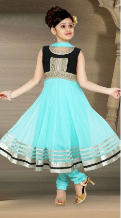 Exclusive Aqua Georgette Readymade Kids Anarkali Suit DT700137