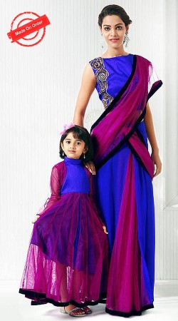 Exclusive Blue And Purple Net Like Mother Like Daughter Outfit BP3116