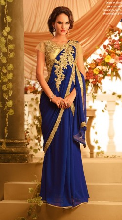 Exclusive Blue Chiffon Designer Indowestern Saree Style Gown BR105591