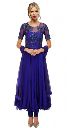 Exclusive Blue Chiffon Yoke Embroidered Long Anarkali Suit SUUDS26804