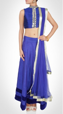 Exclusive Blue Net Lehenga With Mirror Work Choli SUUDL12816
