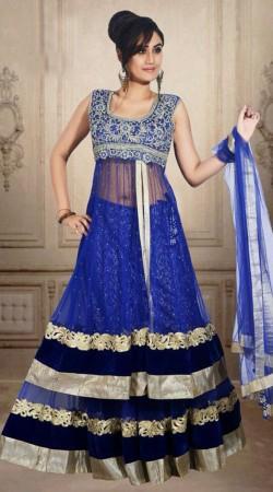 Exclusive Blue Net Wedding Long Choli Lehenga With Dupatta DT902434