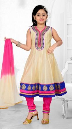 Exclusive Cream Premium Fabric Readymade Kids Anarkali Suit DT700837