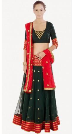 Exclusive Dark Green Silk Net And Net Designer Lehenga Choli SUUDL9014