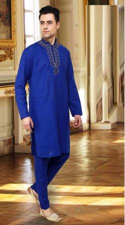 Exclusive Embroidered Neck Blue Cotton Handwork Kurta Payjama DTEKP950