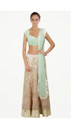 Exclusive Embroidered Off White Net And Shantoon Silk Wedding Lehenga Choli SUUDL7914