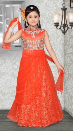 Exclusive Embroidered Orange Net Readymade Kids Long Gown DT701837