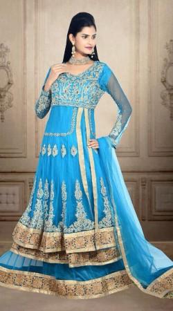 Exclusive Embroidered Sky Blue Net Wedding Long Choli Lehenga DT900834
