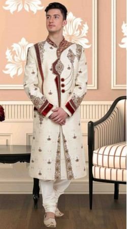 Exclusive Embroidered White Brocade Wedding Sherwani DTWSH1135