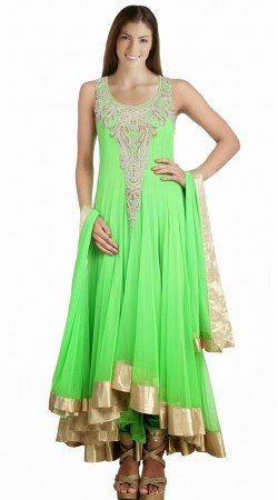 Exclusive Lemon Green Net Readymade Designer Salwar Kameez SU15510