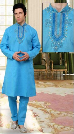 Exclusive Light Blue Cotton Neck Embroidered Kurta Payjama DTKP10438