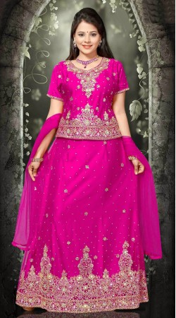 Exclusive Magenta Net Embroidered Lehenga Choli With Dupatta DT92239