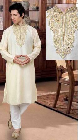 Exclusive Neck Embroidered Cream Jacquard Kurta Payjama DTKP10138