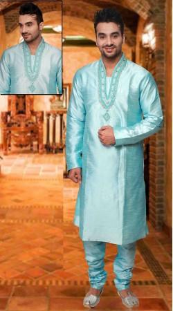 Exclusive Neck Embroidered Firozi Blue Art Silk Kurta Pyjama DTKP333