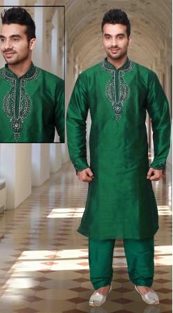 Exclusive Neck Embroidered Green Art Silk Kurta Pyjama DTKP1633