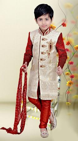 Exclusive Off White And Red Premium Fabric Kids Boy Wedding Sherwani DT2881B53