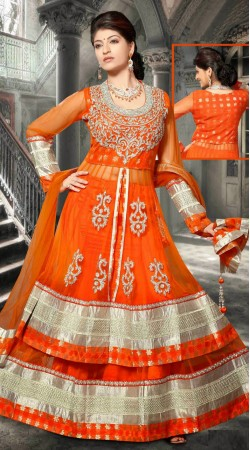 Exclusive Orange Net Long Choli Lehenga With Matching Dupatta DT91139