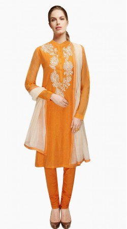 Exclusive Orange Silk Exclusive Salwar Kameez With Dupatta SUMA4209