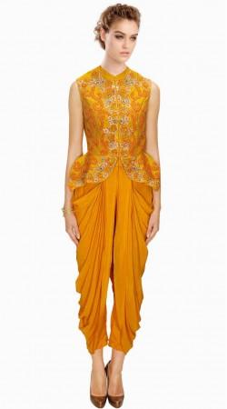 Exclusive Orange Silk IndoWestern Dhoti Salwar Suit SUMA1009