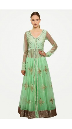 Exclusive Pastel Green Net Long Choli Lehenga With Dupatta SUUDL7014